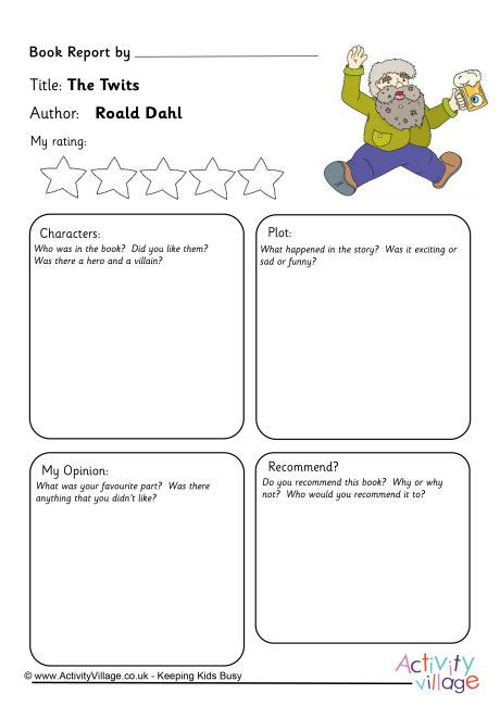 roald dahl book review template the twits book report