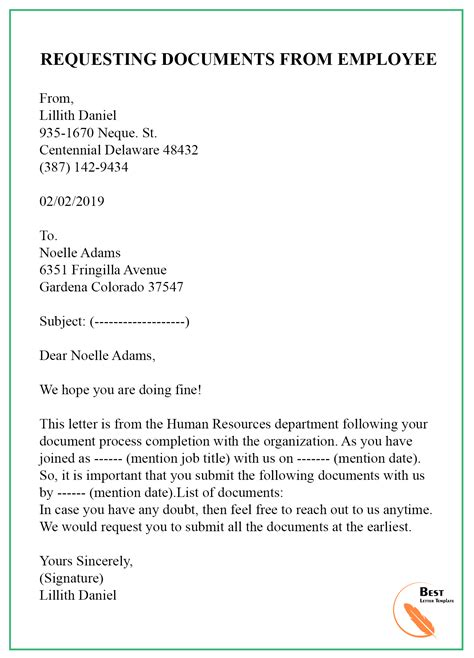 sample request letter template documents