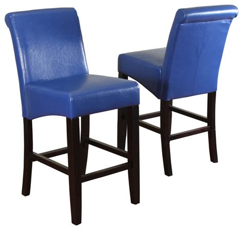 blue leather counter stools milan faux leather counter stools set of 2 modern bar