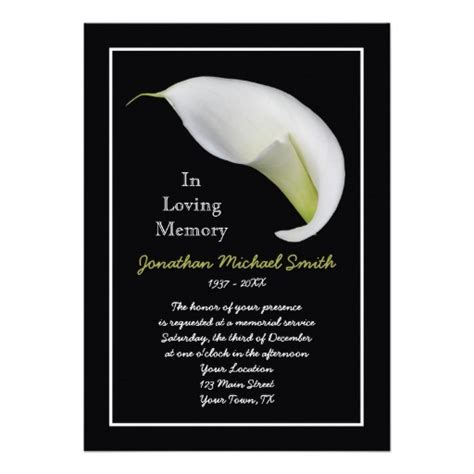 memorial template funeral planning memorials invitations ideas
