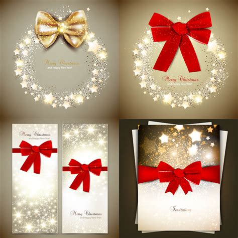 christmas invitations with red bow vector vector