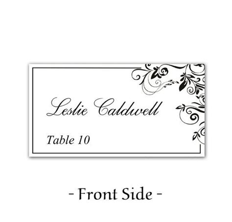 table name place cards template instant classic elegance black leaf ornate