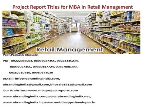 Mba In Project Management New York by Project Report Titles For Mba In Retail Management