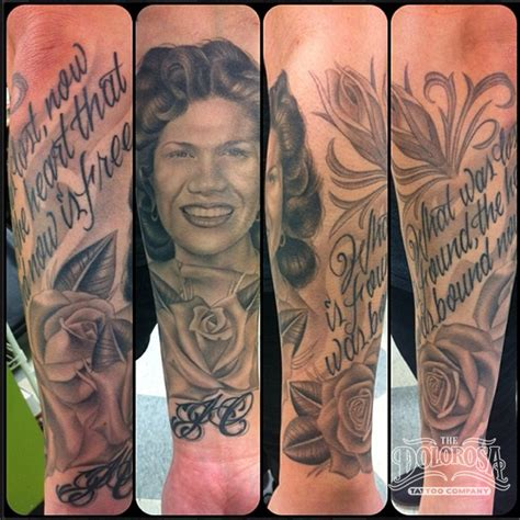 photo realism tattoo artist los angeles portrait and script by reuster original designs