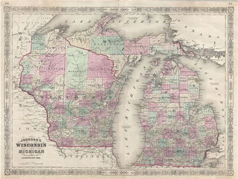 michigan map michigan and wisconsin geographicus antique maps