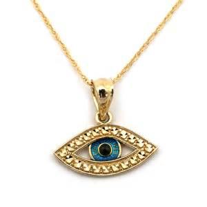 14k yellow gold blue enamel cut evil eye pendant