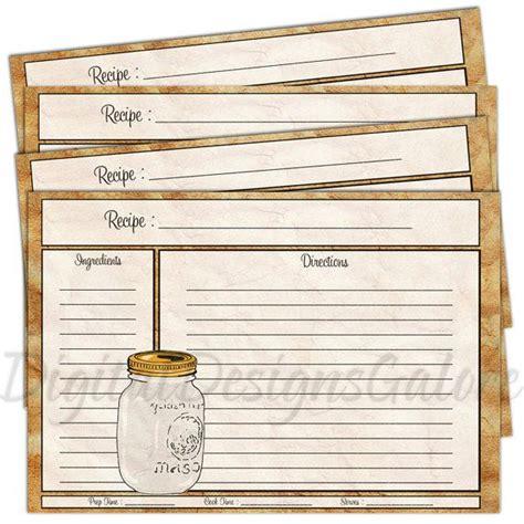 jar recipe card template printable recipe cards pdf 4x6 size diy recipe cards