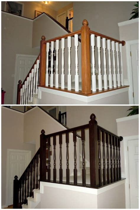 Staining Stair Banister by Remodelaholic Diy Stair Banister Makeover Using Gel Stain
