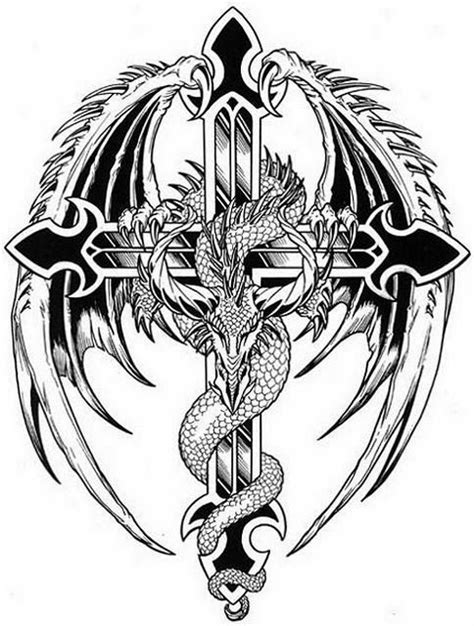 dragon on the cross free tattoo stencil tattoos for men