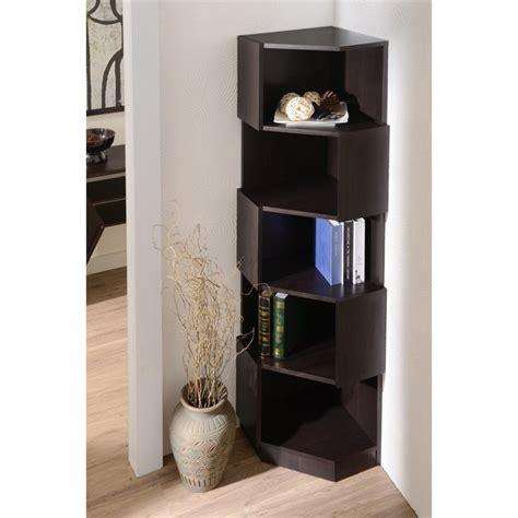 furniture of america cary 5 shelf corner bookcase in