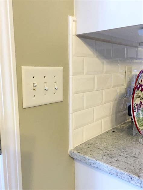 backsplash edge of cabinet or countertop white liner backsplash beveled subway tile edge colonial