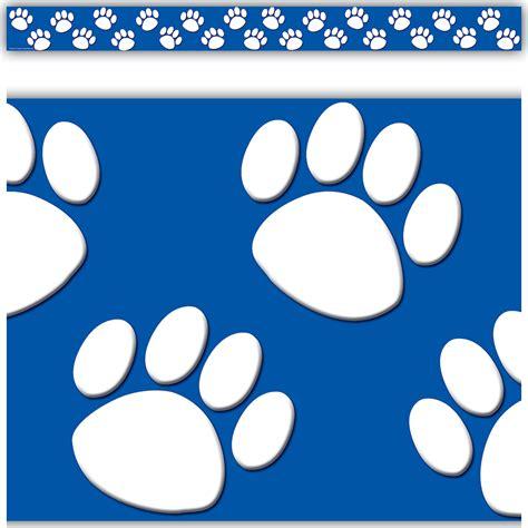 bluewhite paw prints straight border trim tcr