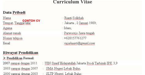 contoh cv curriculum vitae bahasa indonesia yang baik dan