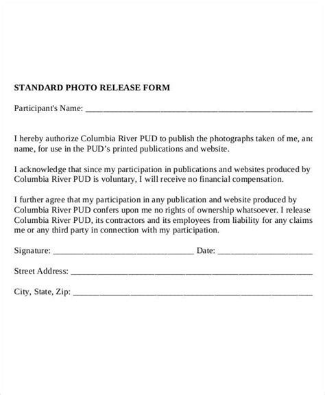 Photo Release Form Template 9 Free Pdf Documents Download Free Premium Templates Photo Release Template
