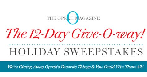 sweepstakesmag weekly roundup november 7 december 3 2016 - Oprah Com Sweepstakes 12 Days