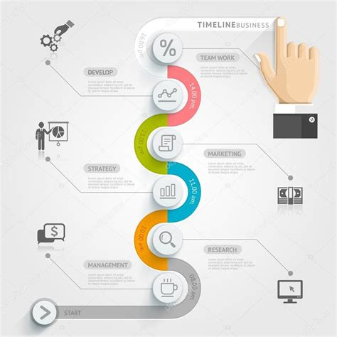 business timeline infographic template stock