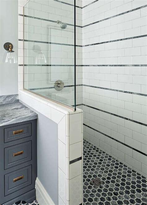 Tile Bordir Two Tone 3 white and gray shower tiles design ideas