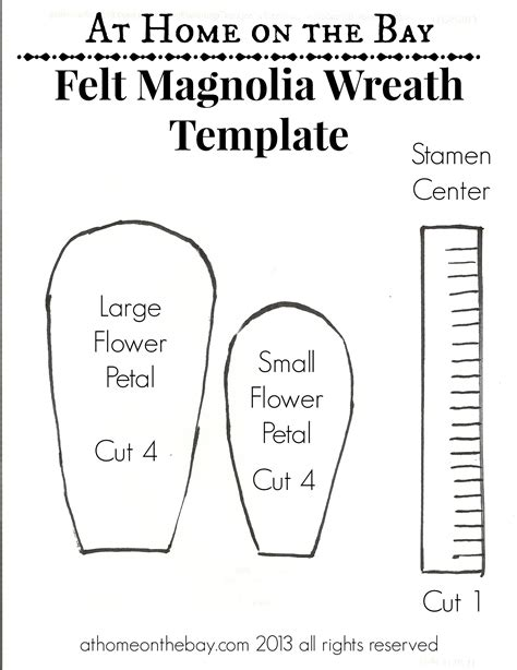 magnolia flower template felt magnolia flower wreath