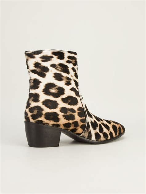 design lab leopard boots lyst giuseppe zanotti leopard print ankle boots in