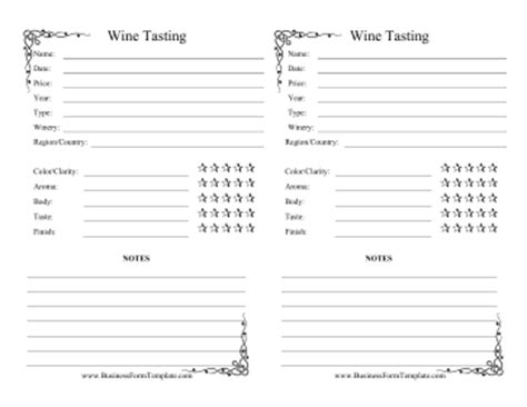 wine tasting cards templates wine tasting log template