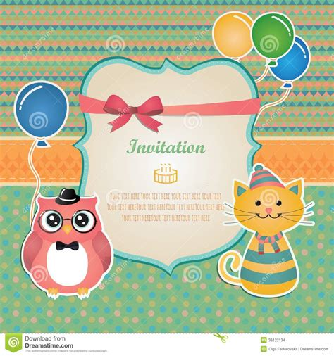 Invitation Card Birthday Design Birthday Party Invitation Card Design Stock Vector Image