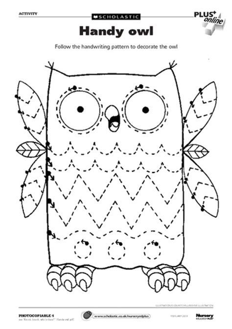 owl pattern worksheet toddler tracing free worksheet motricitate pinterest