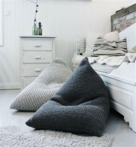 Chunky merino wool grey knitted kids adult bean bag