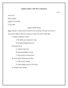 Exle Thesis Paper Outline by Mla Outline With Thesis