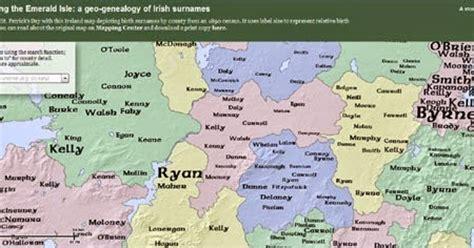 maps mania: a mapped genealogy of irish surnames