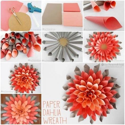 paper flower wreath tutorial paper dahlia wreath video tutorial lots of ideas paper