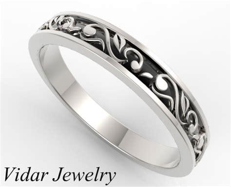 Vintage Flower Engraved Wedding Ring   Vidar Jewelry