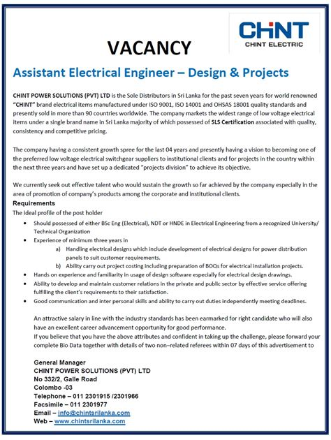 design engineer job vacancy in malaysia assistant electrical engineer design projects job