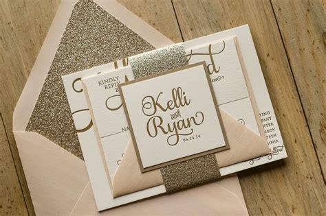 gold sparkle wedding invitations blush and gold glitter wedding invitations