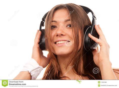 pretty woman mp3 pretty young dj woman listening music stock photo image