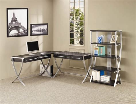 Home Office Desk Options Cappuccino Silver Tone Modern Home Office Desk W Options