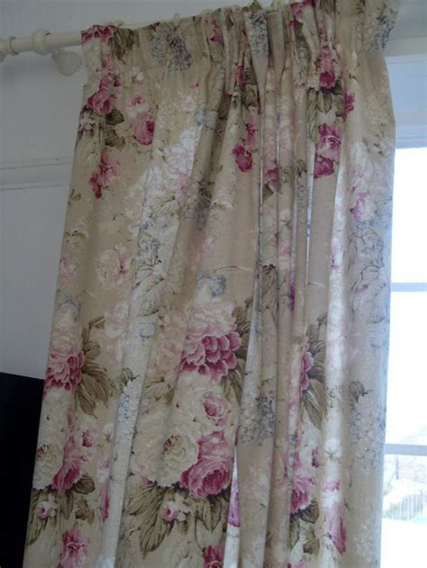 vintage style cabbage rose lined curtains 54dx47w inch shabby chic as