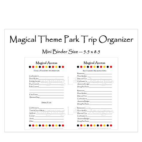 printable disney world planner 6 best images of disney vacation planner printable