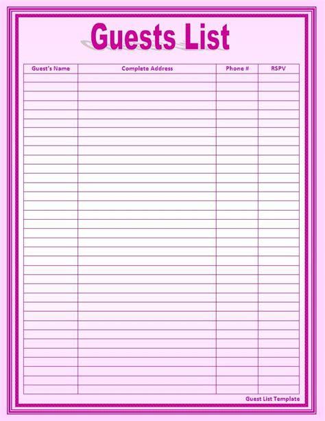 wedding guest list template excel hondenrassen