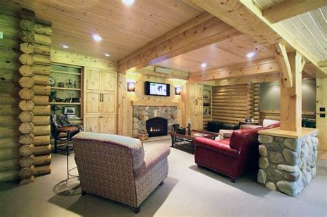 log cabin basement remodel