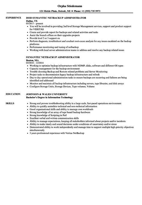netbackup administrator resume sles velvet