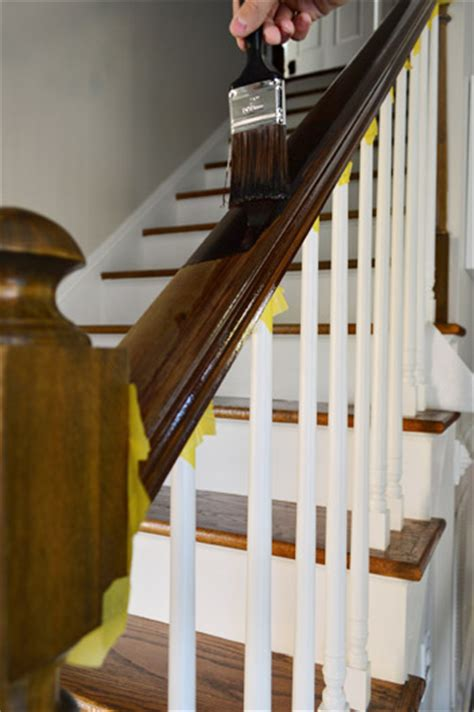 Restaining Banister Rail by How To Install A Stair Runner House