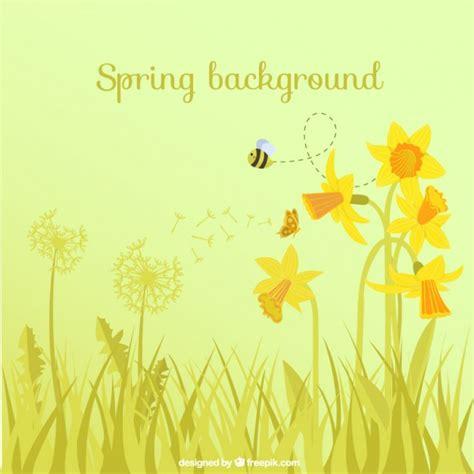 fiori e api primavera sfondo con fiori e api scaricare vettori gratis