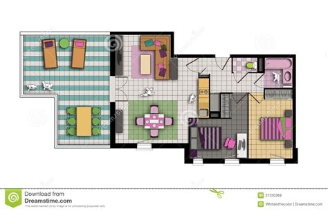 three room apartment three room apartment in pop style colors royalty free