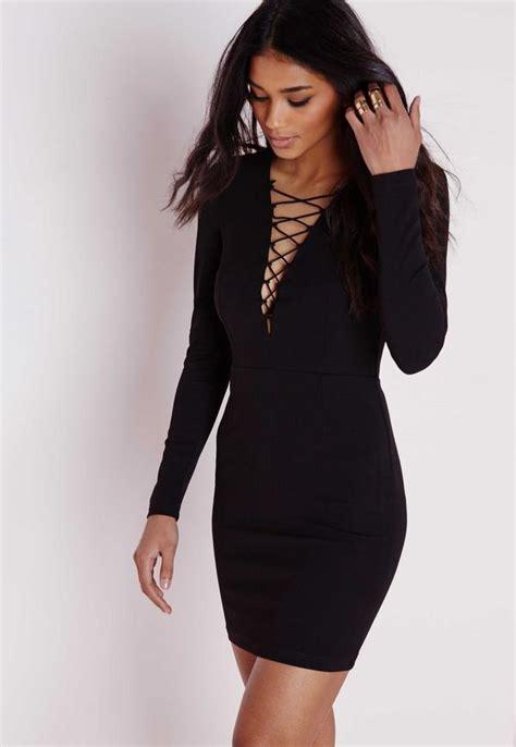 Lace Up Dress crepe lace up front mini dress black missguided