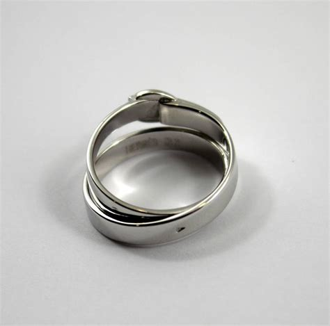 hermes white gold buckle ring for sale at 1stdibs