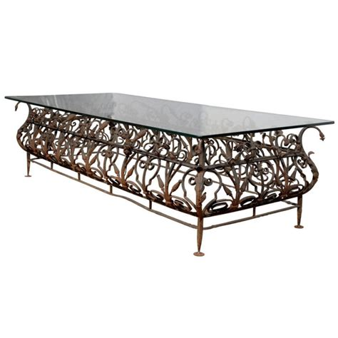 Iron And Glass Coffee Table Large Iron And Glass Coffee Or Cocktail Table Accent Antiques