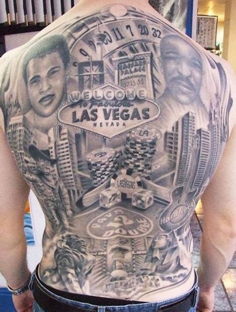las vegas tattoos designs grey ink lasvegas on back