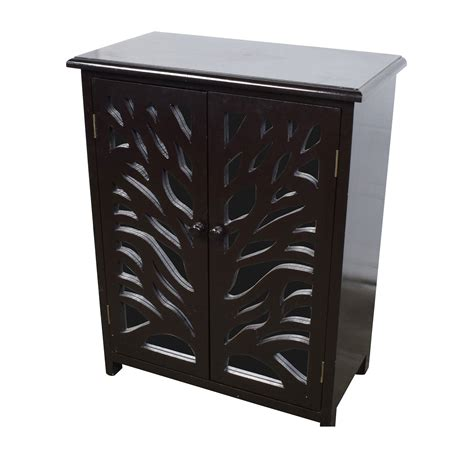 82 Off Small Black Wood And Mirrored Chest Storage Small Black Storage Cabinet