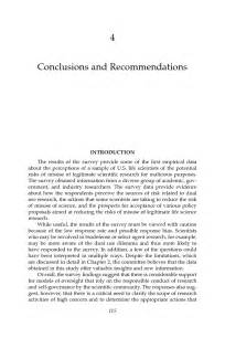 Recommendation Letter Conclusion 4 Conclusions And Recommendations A Survey Of Attitudes And Actions On Dual Use Research In