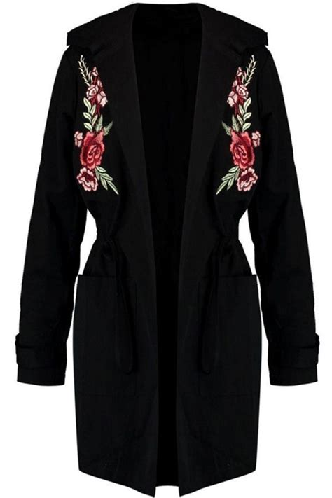Flower Embroidered Woolen Coat Black White Size Ml black floral embroidered pockets drawstring hooded plus size trench coat s coats trench